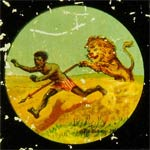 Bushman chased by a lion